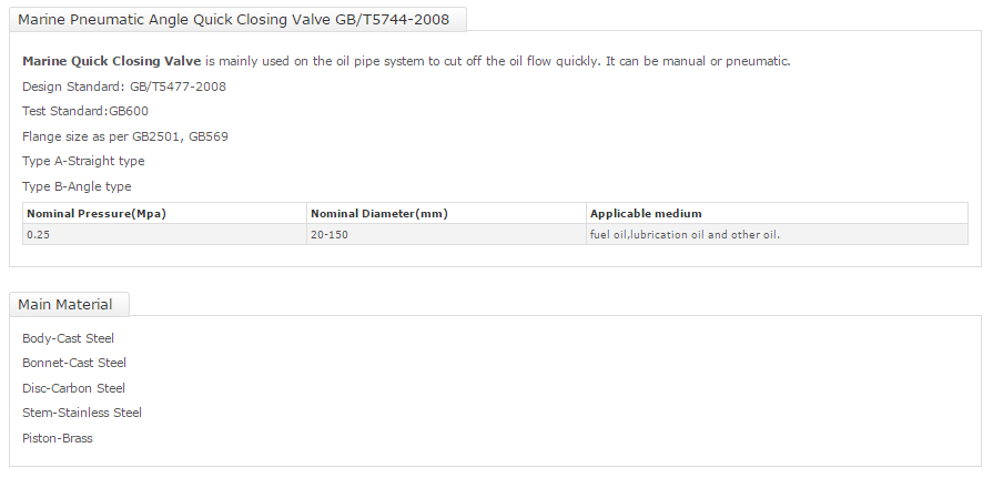 Marine Pnuematic Angle Quick Closing Valve GBT5744-2008 S